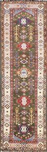 Dark Green Kazak Geometric Oriental Runner Rug Hand-knotted Wool Carpet 3x10 New