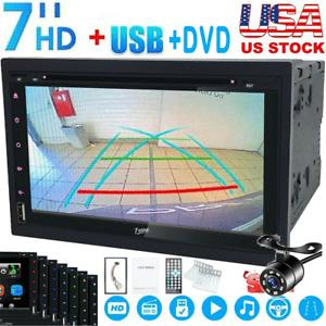 2Din 7Inch Car Stereo DVD CD Player in Dash Head Unit Radio FM TV USB SWC Camera