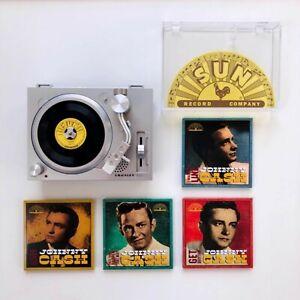 "Crosley RSD3 Player Mini Turntable + Johnny Cash 3"" Vinyl - Set of 4 Records"