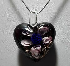 Murano Glass Lilac & Gold Flower Heart Pendant on 925 Silver Necklace #Valentine