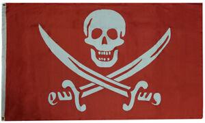 3x5 Calico Jack Rackham Pirate Blood Red White Woven Poly Nylon 5x3 Flag Banner