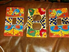 LOT OF 3 Mexican Ceramic Light Switch Plates & Socket Plate- hand painted