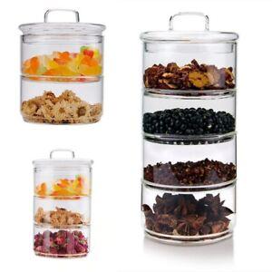 Multi Layers Glass Tea Storage Tank Stackable Snack Grains Storage Sealed Box