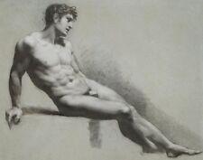 Prudhon Paul Pierre Male Nude Figure Resting Print 11 x 14   #3455