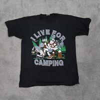 "Vintage ""Live For Camping"" Men's T-shirt Black Size large Jerzees 90s Single"