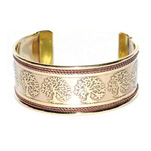 """NEW Tree of Life Cuff Bracelet 3/4"""" Copper and Brass Engraved Unisex Handmade"""