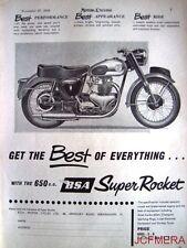 1958 Motor Cycle ADVERT - B.S.A. '650cc Super Rocket' (£283-3s-8d) Print AD