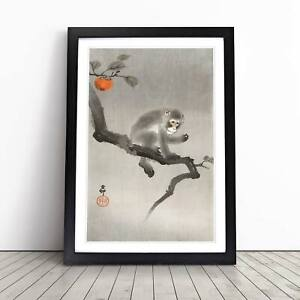 Monkey upon an Orange Tree Asian Ohara Koson Framed Picture Print Wall Art