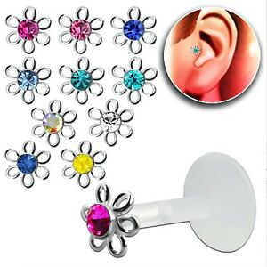 Bioflex Lip Stud / Monroe / Tragus 925 Silver Push in Flower 6mm Crystal Centers