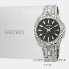 Authentic Men's Seiko Solar Swarovski Crystal Stainless Steel Watch SNE457