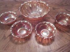 Imperial Marigold Carnival Glass Diamond Point Columns Berry Bowl Set 1 LG  4 SM