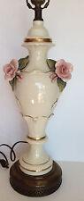 """Antique France Berger Swiver Harp Rose Porcelain Lamp 3D Rose Gold DecoT36,5"""""""