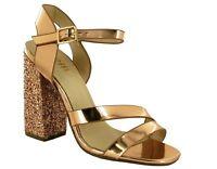 Women Open Toe High Top Sparkly Block Heel Party Wear New Sandals UK Size 2-7