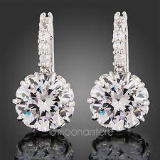 18K White Gold Austrian Crystal Diamond Zircon Women Earrings Ear Stud