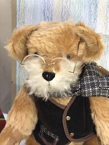 Hermann bear Grandfather Ltd Ed 246/500 mohair, waistcoat, scarf & spectacles