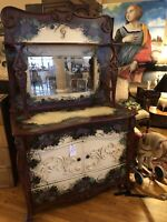 Antique Oak Hutch Painted