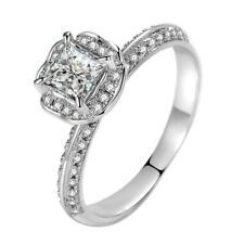 0.8 Ct Princess Cut Simulated Diamond 925 Sterling Silver Solitaire Wedding Ring