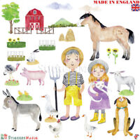Farm Animal Wall Stickers Nursery Farmyard Baby Girl Boy Kids Bedroom Room Large