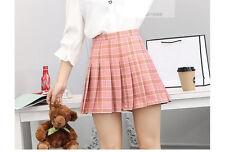 Tartan Pleated Mini Skirts Plaid Skater Pink Navy Beige Size 4-12