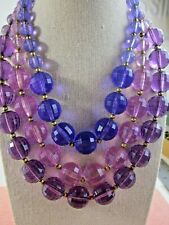 CHUNKY Faceted Lucite Bead & HUGE Rhinestone Clasp Vintage NECKLACE PURPLE