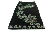 FRENCH CONNECTION WOMEN'S BLACK BEADED LINEN PAISLEY PENCIL SKIRT SIZE 2