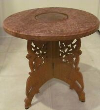 VINTAGE CARVED WOOD BRASS INLAY SMALL TABLE FOLDING LEGS INDIACOMES FROM A SMOKE