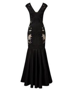 Studio 8 Phase Eight 10 Dress Anne Cutwork Maxi Gown Black Party Glam BNWT £360