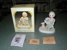 Precious Moments Enesco 524077 Baby's First Meal 1999 Retired Boy High Chair