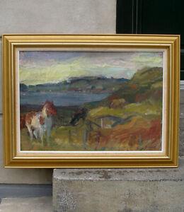 Ruben Gelardi (1938) Wild horses in Himmerland, Denmark. Rare exhibition oil.
