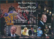 More details for guyana 2021 mnh royalty stamps prince philip duke of edinburgh memorial 4v m/s