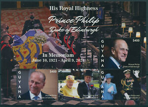 Guyana 2021 MNH Royalty Stamps Prince Philip Duke of Edinburgh Memorial 4v M/S