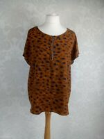NWOT Next Size 18 Mustard Animal Print Top Easy Care Non Iron Exposed Zip #q