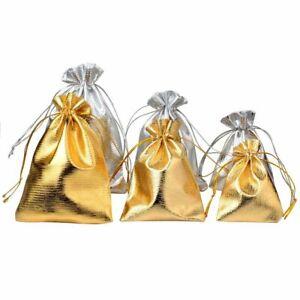 25pc 7x9cm 9x12cm Silver Gold Foil Cloth Drawstring Velvet Bag Jewelry Packaging