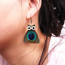 Bohemian Feather Lovely Retro Owl Hook Drop Earrings Charming Women Jewelry Gift