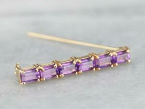 Glamorous 2.17CT Emerald Cut Purple Amethyst 14K Yellow Gold Finish Brooch Pin