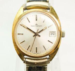 Vintage Swiss Bucherer 5291 Date Men's 17J Wristwatch