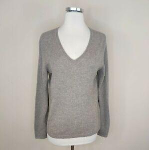 Tahari Pure Luxe Cashmere Sweater V-Neck Brown Pullover M Medium