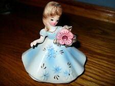 Josef Originals Figurine - Darling Girl With Big Rhinestone Flower
