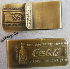 Coca Cola money clip St Louis bottle 1904 Tiffany Studios antique finish