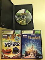 Xbox 360 Kids 3 Game Kinect Lot - Kinect Disneyland, Sesame Street & Kinectimals