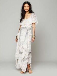 Free People RARE Paqueta Island Maxi Dress XS Polka Dot Tiered Layered Romantic