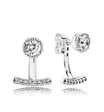 Pandora ABSTRACT ELEGANCE EARRINGS S# 290743CZ Silver Cubic Zirconia NWT