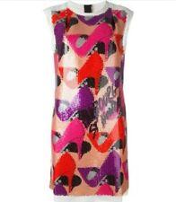 LANVIN NUDE ROBE SEQUIN EMBELLISHED SHOE DESIGN SHIFT DRESS FR 38/US 6 $2690