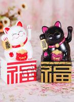 Glückskatze mit Batterie Winkekatze Maneki Neko Glücksbringer Katze Feng Shui