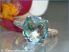 KLASSISCH ELEGANT: Feiner Blautopas Ring mit Diamanten, 4,85 ct. GG-585 720€