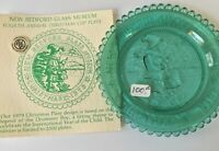 Little Drummer Boy Vintage Christmas Pairpoint Glass Cup Plate Teal Window Decor