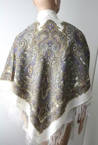 Pawlow Posad/Pavlovo Posad russischer Schal-Tuch Tradition125x125 Wolle 1008-1