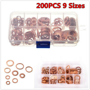 200Pcs 9 Sizes O-Ring Gasket Car Engine Oil Drain Plug Copper Seal Washer + Box