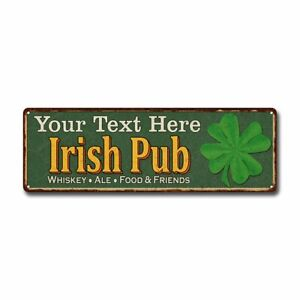 Personalized Irish Pub Green Custom Sign Game Room Home Bar 106180010001