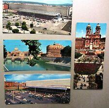 Lot ITALIEN 4 Miniatur-Postkarten ROM Roma Rome ~1965 ua. Stazione (Bahnhof)
